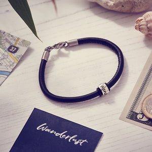 Mens blue leather bracelet with silver wanderlust charm bead unusual travel gift