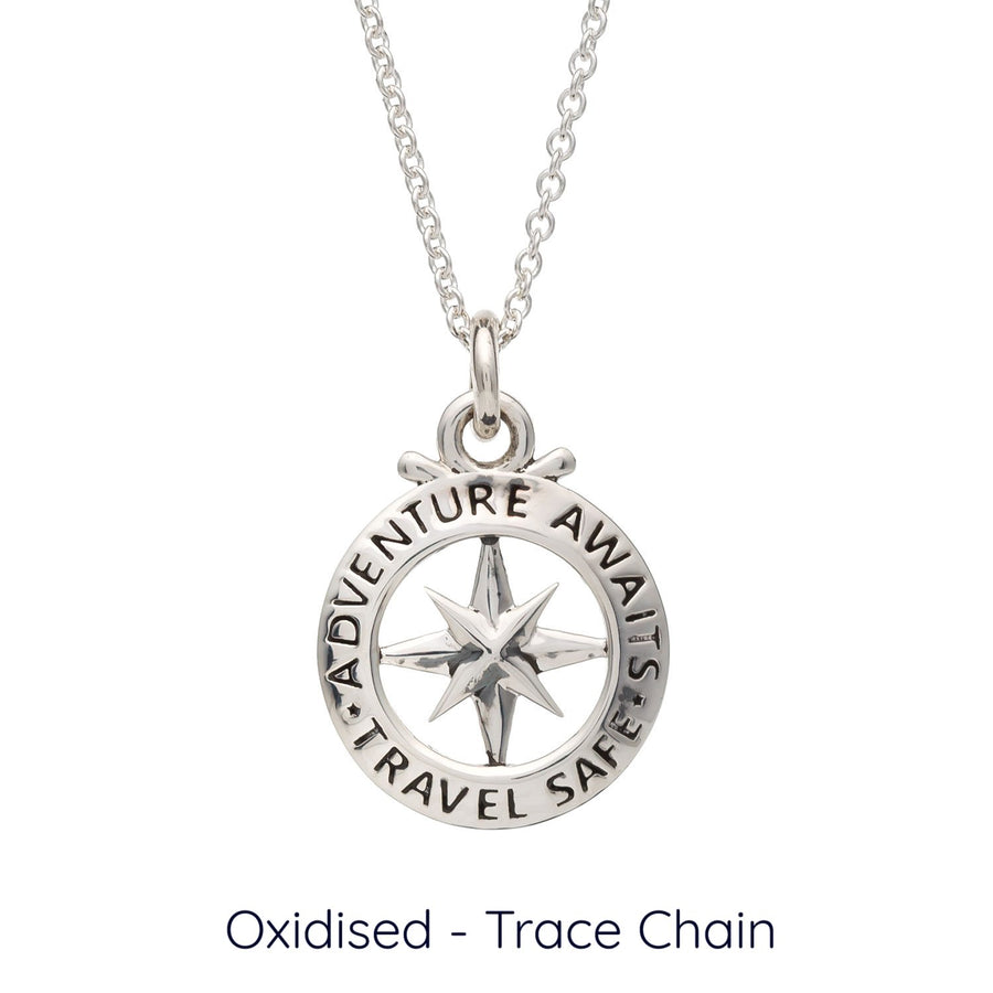 Travel Safe Outline Compass Small St Christopher Silver Necklace