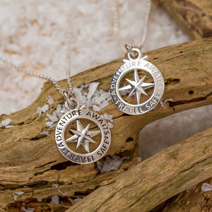 Compass Silver Necklace Christmas Gift For Women and Men Adventure Awaits Travel Safe