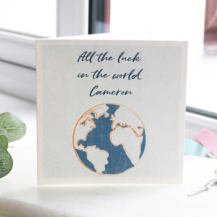 Personalised good luck on your travels gift card from Off The Map Jewellery Brighton uk