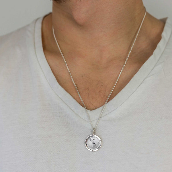 USA south america map globe pendant necklace solid silver mans travel gift emigration
