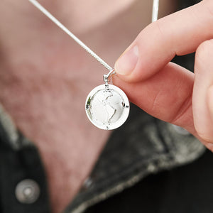 Americas Map Globe St Christopher Necklace For Men