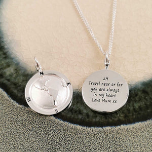 american map necklace engraved globe pendant for men alternative saint christopher