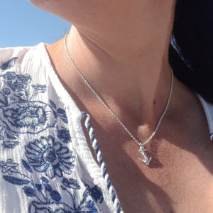 Silver anchor necklace for women nautical jewellery Off The Map Jewelery