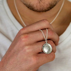 asia australia map globe pendant necklace solid silver mans travel gift emigration