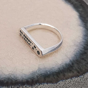 custom co-ordinates latitude longitde hexagon bar silver signet ring