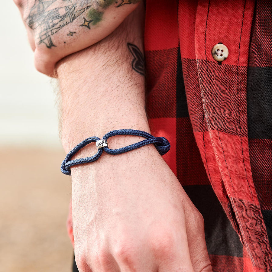Travel Safe Navy Vegan Silver Travel gift Bracelet For Men from Off The Map Brighton