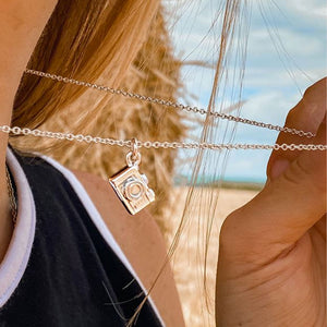 camera slr pendant silver photographer necklace for women