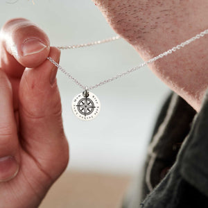 Personalised Compass Silver Disc Necklace