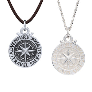 Large Compass St Christopher Necklace With Vegan Cord Adventure Awaits Travel Safe
