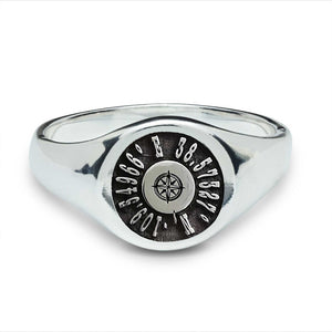 coordinates latitude longitude signet ring for men sterling silver