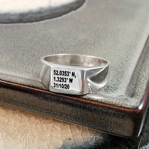 coordinates engraved signet ring with date birthday gift halloween
