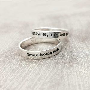 latitude longitude coordinates slim band ring sterling silver gift for him