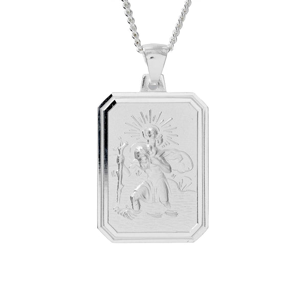 large silver dog tag saint christopher necklace off the map travel jewelry for men