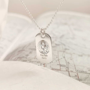 skinny silver dog tag st christopher necklace personalised mens gift name stay safe ball chain off the map travel jewellery
