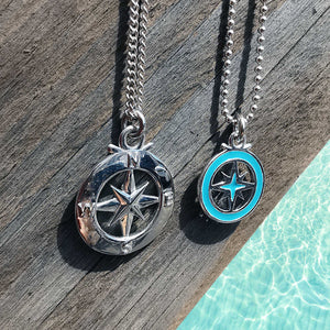 enamel compass necklace alternative saint christopher gift for him