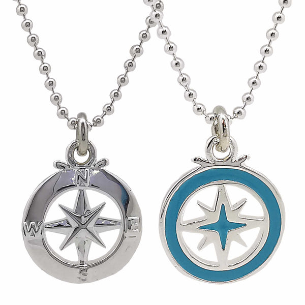 Enamel compass necklace for women travel alternative saint christopher pendant gift