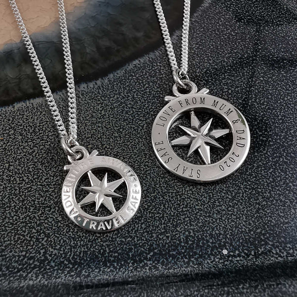 engraving back of outline compass saint christofer necklaces
