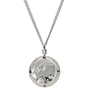 Silver european map globe necklace Off The Map Jewellery alternative Saint Christopher