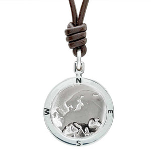 Europe map globe necklace silver saint christopher mans necklace