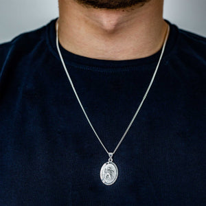 oval silver saint christopher for men 21st 18th 16th birthday gift for son grandson
