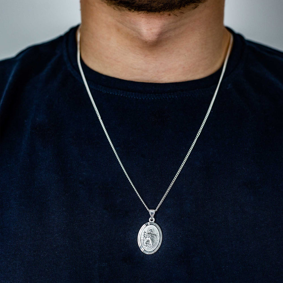 oval silver saint christopher pendant for men women travel gift for him