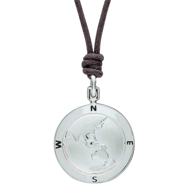 Asia Map Globe Alternative St Christopher Necklace For Men or Women- Leather or Vegan Cotton Cord