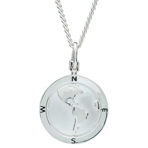 American Map North South America USA Globe Silver St Christopher Pendant