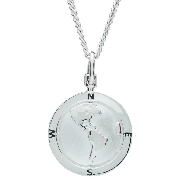 Americas Map North South America USA Globe Silver St Christopher Pendant
