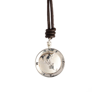 Asia Map Globe Personalised St Christopher - Leather or Cotton Cord
