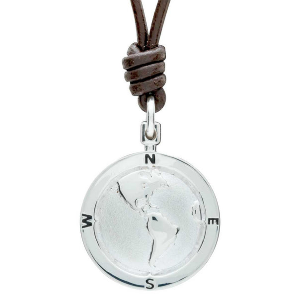 Silver Americas Map Globe St Christopher Necklace with Leather Cord for men or women