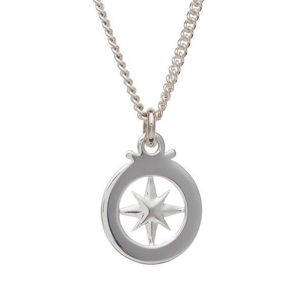 Hollow Compass Silver Necklace for men travel safe from off the map brighton