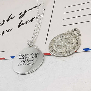 personalised stay safe compass travel necklace gift for son alternative saint christopher