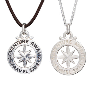 Men's large silver compass necklace, alternative to a St Christopher, from Off The Map Jewellery