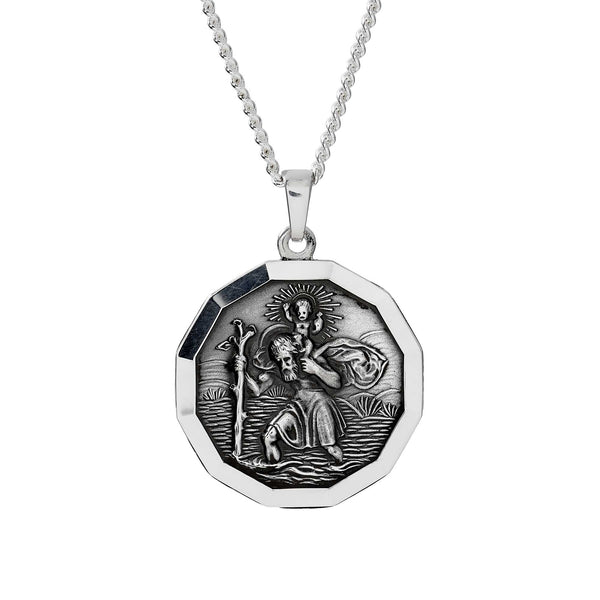 large silver 12 sided saint christopher necklace off the map travel jewelry for men