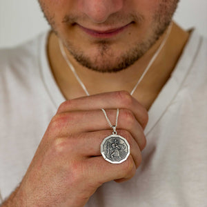 large dodecagon 12 sided saint christopher necklace for men 18th 21st 16th birthday gift for son grandson