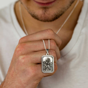 mens silver dog tag saint christopher necklace bespoke inscription solid silver 21st 18th birthday gift