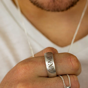 roman numerals engraved mens chunky silver band ring 18th birthday gift