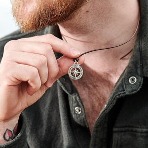 Men's large silver compass pendant for leather or vegan cord necklace alternative to a St Christopher from Off The Map Jewellery