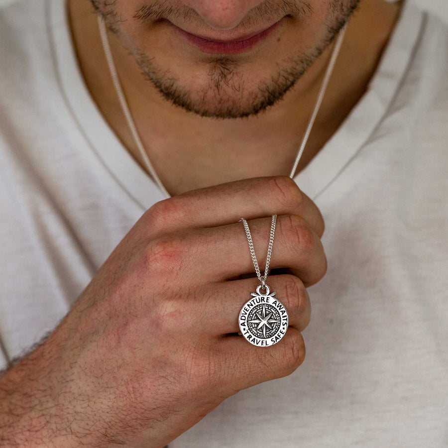 Large Compass St Christopher Necklace With Vegan Cord 21st 18th birthday gift for son grandson unusual saint christopher necklace Travel Safe