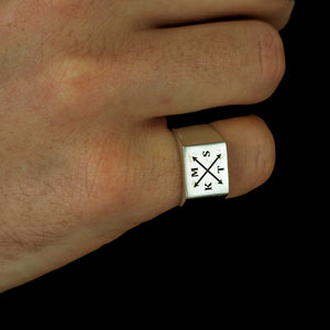 mens silver signet ring with family initials custom engraved personalised gift for dad husband
