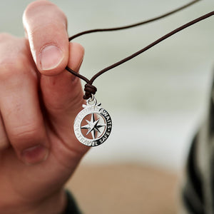 Men's large silver compass pendant for leather or vegan cord necklace from Off The Map Jewellery