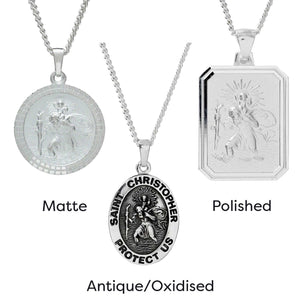 Faceted Oval Saint Christopher Personalised Silver Necklace