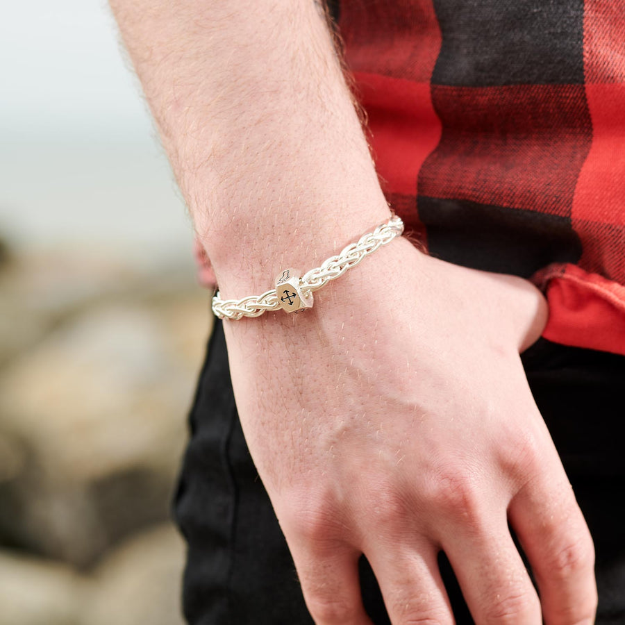 Traveller Keepsafe Braided Knot Silver Bracelet - Men's silver travel bracelet handmade in UK from Off The Map Jewellery Brighton