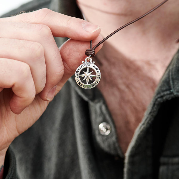 Mens large silver and leather or vegan cord necklace st Christopher compass travel safe Off The Map Jewellery
