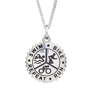 Mens silver triathlon pendant with leather or silver cord Off The Map Jewellery