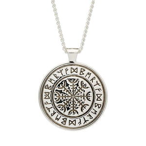 Chunky mens silver viking rune necklace engraved with travel protection freedom rune symbols off the map jewellery