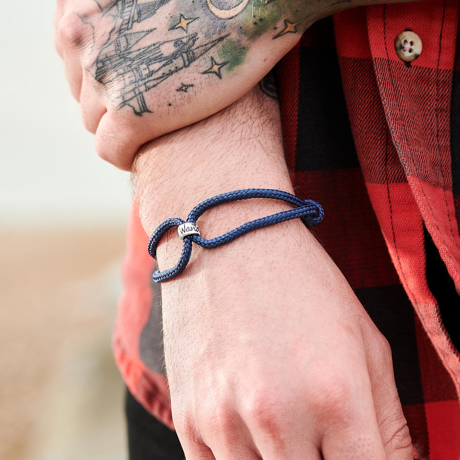 Original Wanderlust gifts for men, adjustable vegan cord bracelet in black