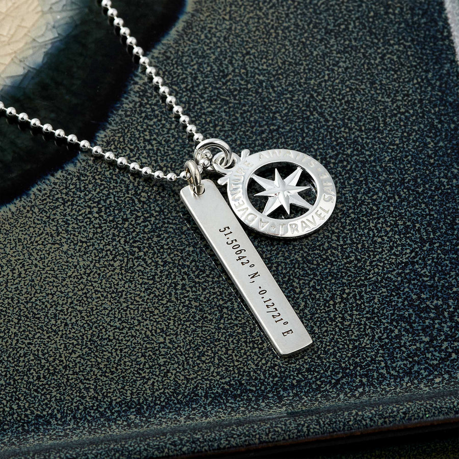 coordinated latitude longitude engraved compass necklace gift for son daughter going away travel gift remind of home