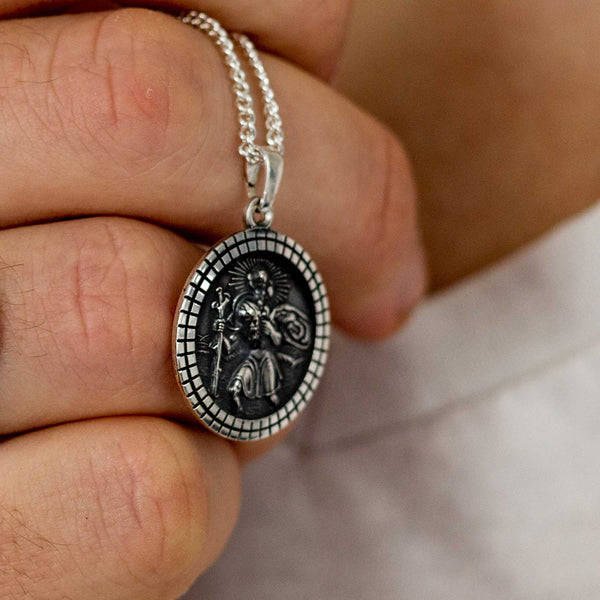 mens large saint christopher medal 18th 21st birthday present grandson son brother husband